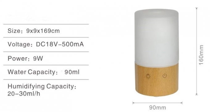 Wood Base Ultrasonic Air Scent Diffuser Machine 90ml For Home